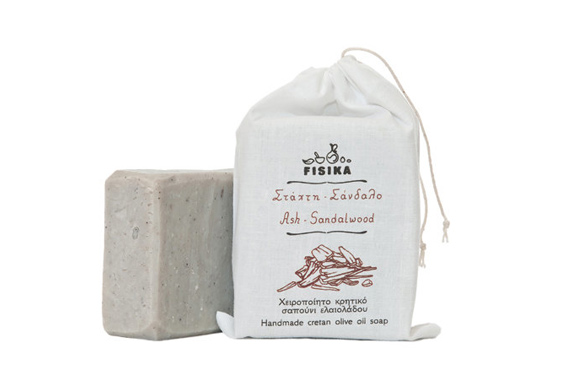 Ash-Sandalwood soap in a pouch, and a full size soap bar on the side.