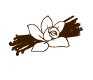 Art design of a vanilla orchid flower and vanilla beans packed underneath